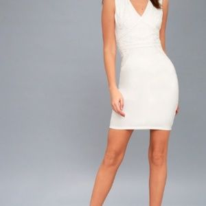 Lulus Malerie White Embroidered Bodycon Dress XS